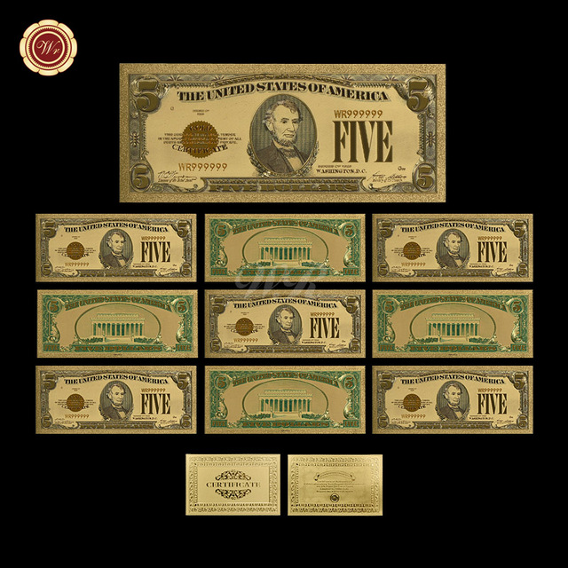WR 5 Dollar 24k Colorful Gold Banknote Birthday Souvenir Gifts Currency Bill Note 9999 Money Festival For Collection