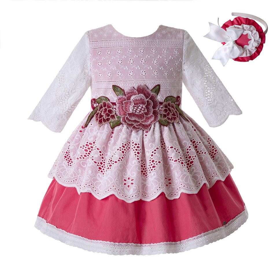 Pettigirl Pink Flower Embroidery Baby Lace Princess Ceremony Girl Elegant Wedding SummerCommunion Dresss for Kids G
