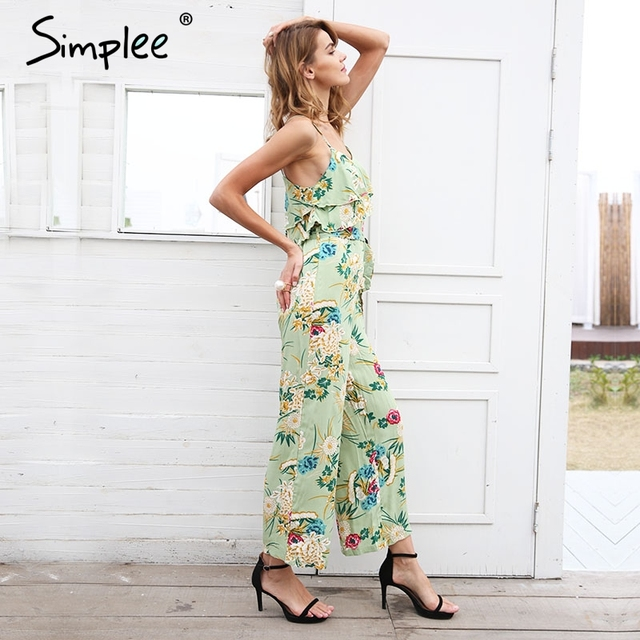 Boho floral print strap tiered ruffle jumpsuit 2