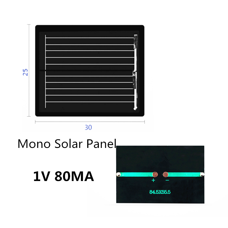 Mono Solar Panel single crystal 1V 80MA Solar System DIY For Battery Cell Phone Chargers