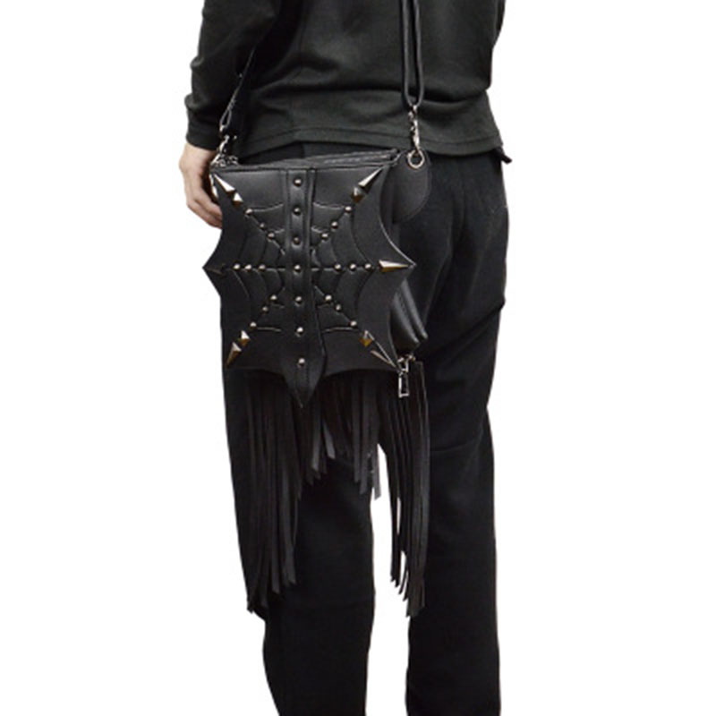 2018 New Fashion Unisex Black Cobweb Spider Web Punk Shoulder Bag Goth Men Women Tassel Bags Vintage Travel Rivet Handbag