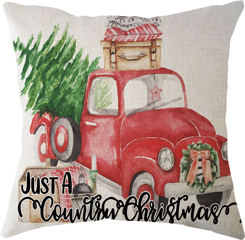 2019 New Year Christmas Decorations for Home Natal Merry Christmas Tree on The Car Linen Cushion Pillowcase 45x45cm Wholesale (3)