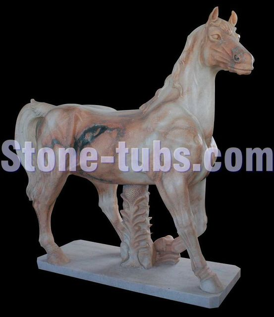 Marble Horse Statue Natural Stone Sculptures Horse Garden Statue