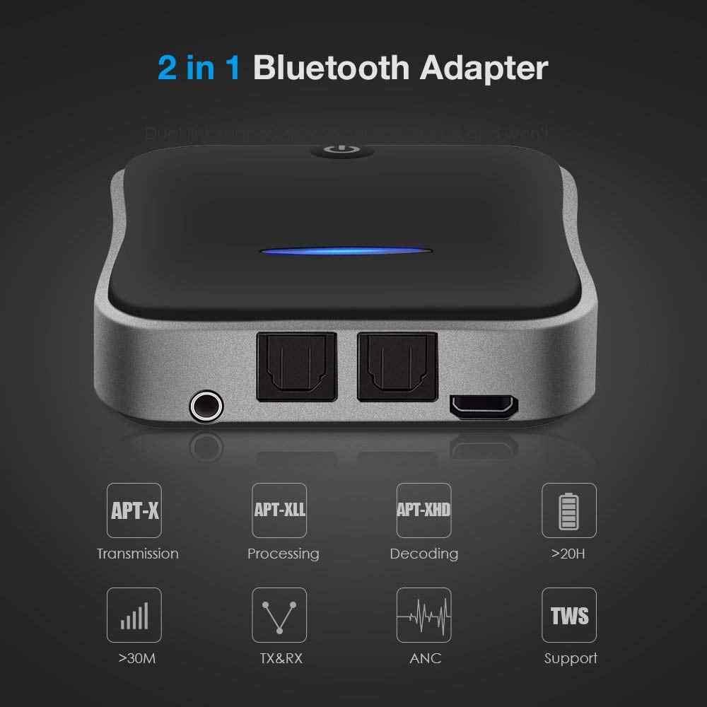 Nadajnik i odbiornik audio Bluetooth 5.0 aptX HD krótki czas oczekiwania 3.5mm Aux/RCA/SPDIF Stereo BT adapter bezprzewodowy do telewizora/słuchawek/samochodu