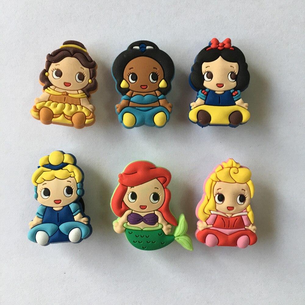 100PCS Baby Princess PVC Shoe Charms Buckle Accessories for Croc Decoration Bracelets with holes Kids Christmas Gift