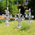 New Fashion Jesus Piece Pendant Christian Jewelry Gift Stainless Steel Silver Plated Leather Chain Cross Necklace XL-899