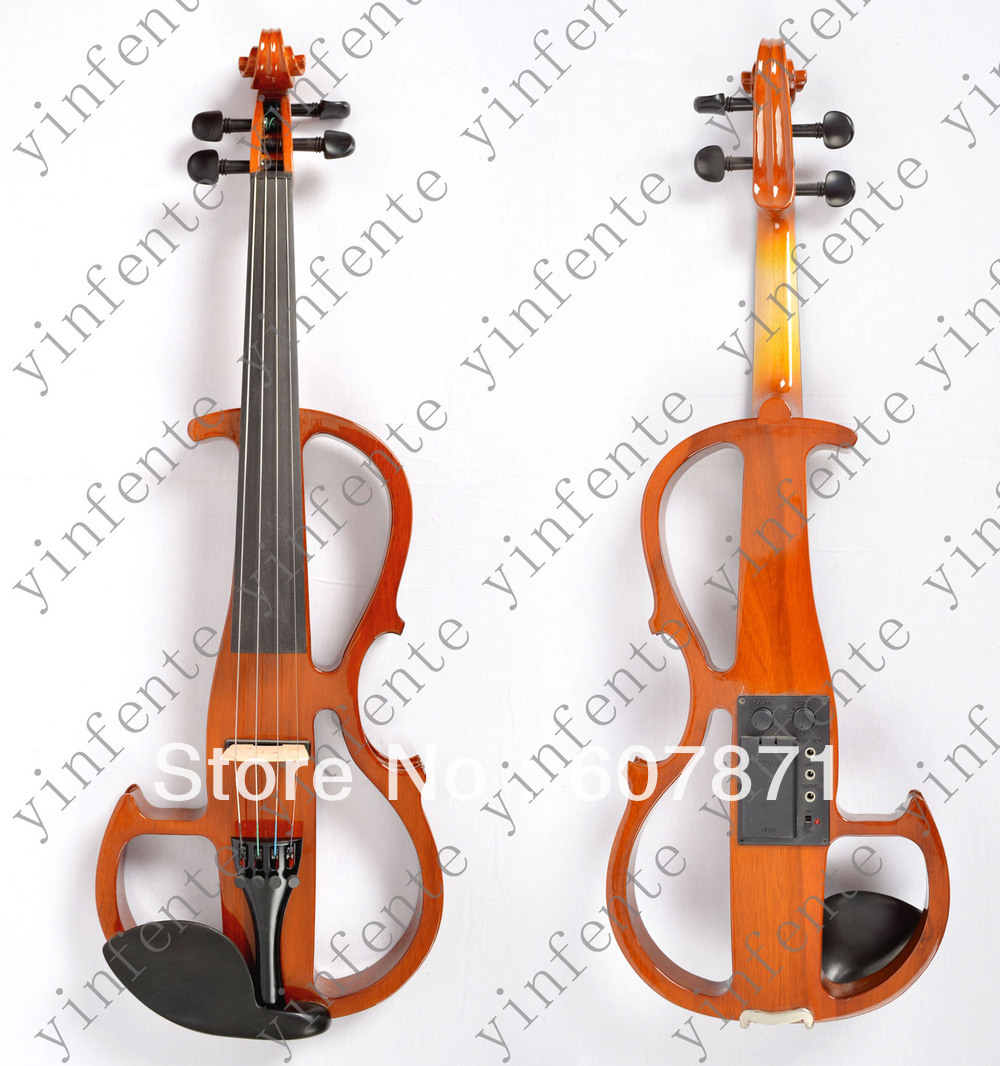 yinfente New yellow   4/4 Electric violin silent wonderful tone Any color handmade new solid maple wood brown acoustic violin violino 4 4 electric violin case bow included