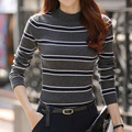 New winter women's striped knit shirt Slim Fit Turtleneck long sleeve sweaters Women's tops Fashion Pullovers Z1838