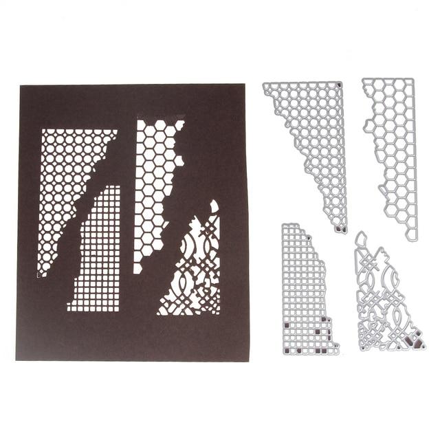 4Pcs/Set Geometric Corner Cutting Dies Metal Scrapbooking Emossing Stencil Card Die For DIY Invitation Album Book Decoration