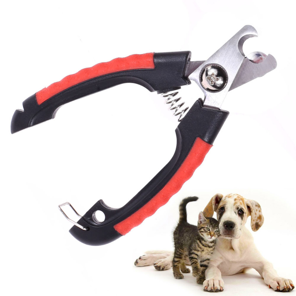 Professional Pet Dog Nail Clipper Cutter Stainless Steel Grooming Scissors Clippers for Animals Cats with Lock Size S M image
