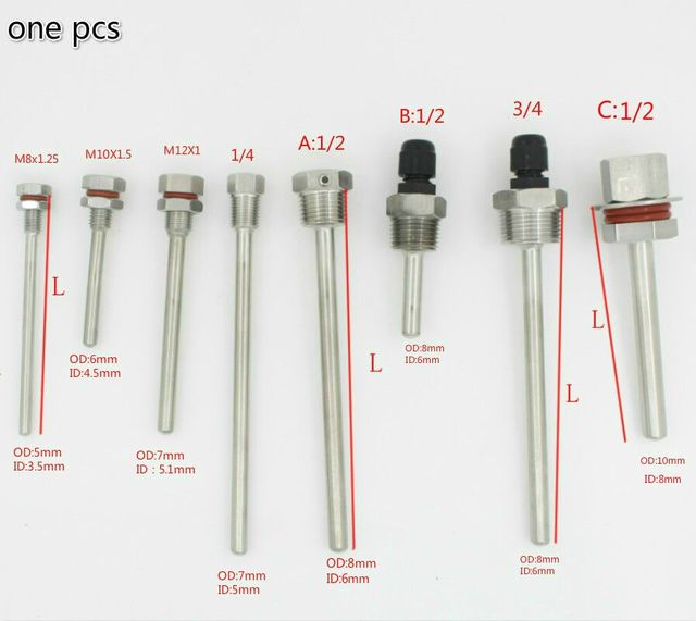 """Thermowell Thermocouple Length L30-L500mm thread  1/4"""" 1/2"""" 3/4"""" M8x1.25 M10x1.5 M12X1 stainless steel pipe 304"""