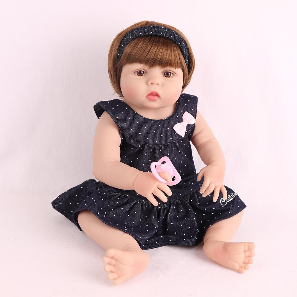 Poupée Silicone complète reborn 22 pouces 55 cm Reborn bébé poupées réaliste Bebes reborn bonecas infantil meninas lol fille poupée cadeau