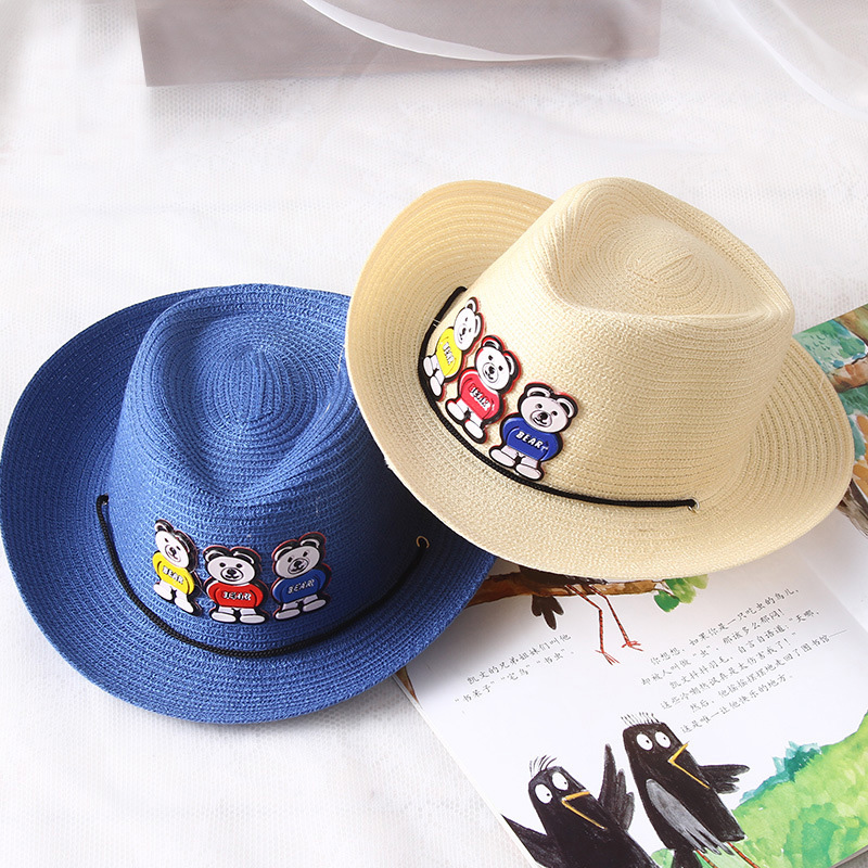 e0763d179d4 jujuland Children s Caps For Boys Girls Baby Sun Hat Animals Bears Patch  Cool Cap Cute Kids Bucket Hat Outdoor Boy Cowboy Hat