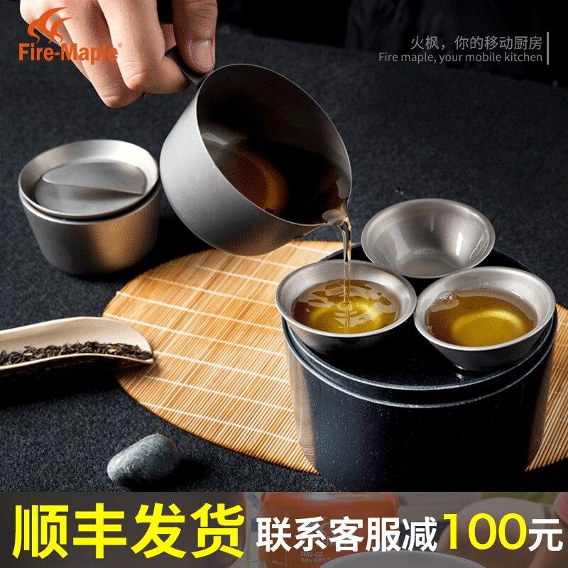 Set de thé Kung fu titane érable feu voyage