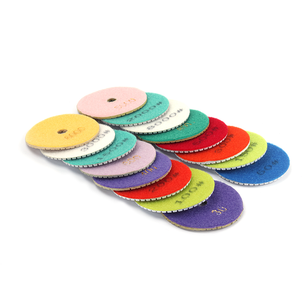 16Pcs Diamond Polishing Pads Wheel 4 Inch 100mm Wet/Dry For Granite Stone Concrete Marble Granite Concrete Tool Grinding Disc