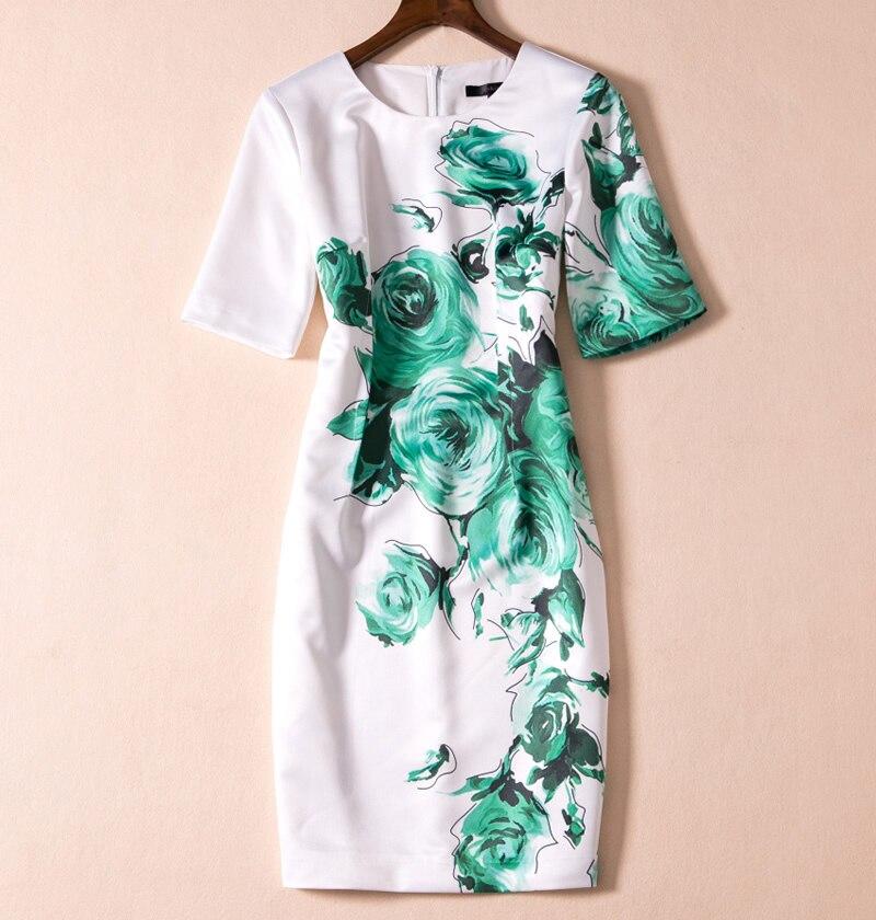 Femmes robe vert imprimé élégant o-cou à manches courtes robes décontractées E5130
