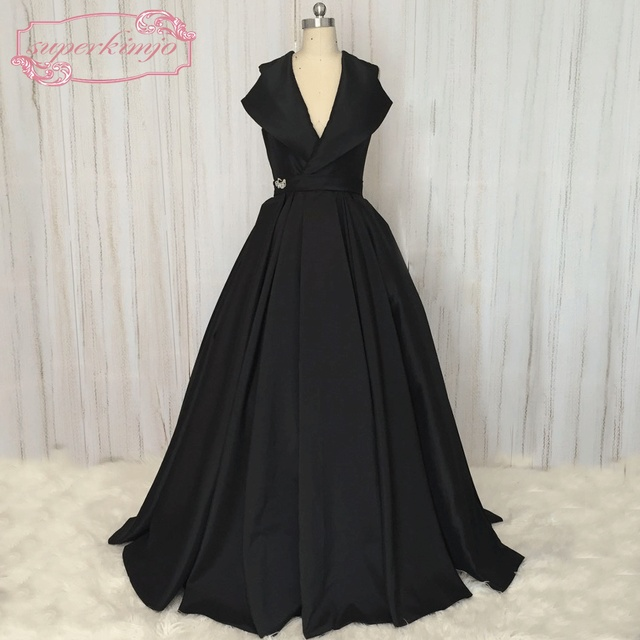 SuperKimJo Vestidos De Gala Vintage Black Sleeveless Prom Dresses ...
