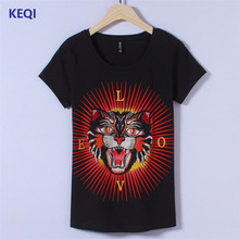 KEQI Women Summer Short Sleeve Embroidery tiger head letter Print T shirts Fashion slim White black Top Tees Women Designe