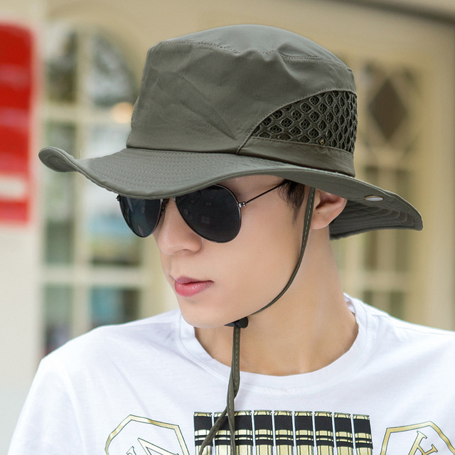 f7116ae1714fb9 Men's Summer Bucket Hats Outdoor Fishing Wide Brim Hat UV Protection Sun  Cap Men Hiking Outdoor Hats For Camping Free Shipping