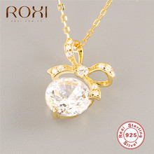 ROXI 925 Sterling Silver CZ Zircon Bowknot Necklace for Women Clavicle Short Chain Gold Color Statement
