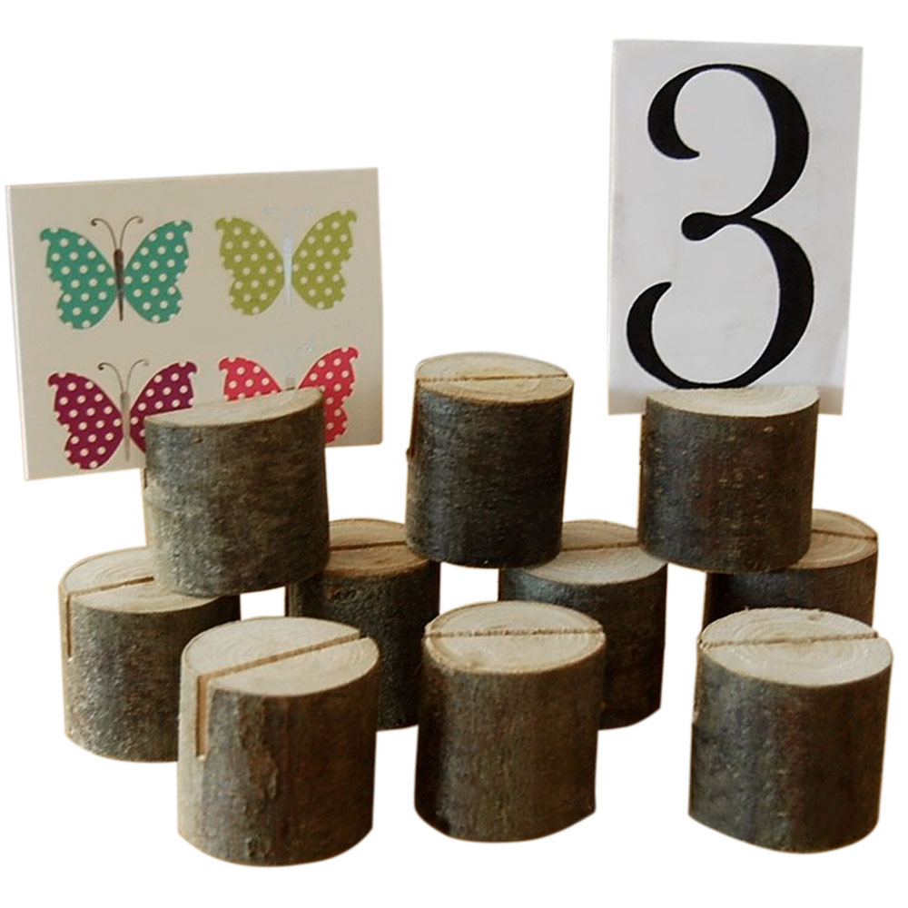 TAOS 10 PC Wooden Stump Wedding Party Reception Place Card Holder Stand  Number Name Table Menu