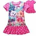 2017 nuevos Bebés del Verano Vestido de Ropa de Los Niños de Dibujos Animados Impreso Perro Patrulla Patrón Ocasional de La Muchacha vestido de Los Cabritos