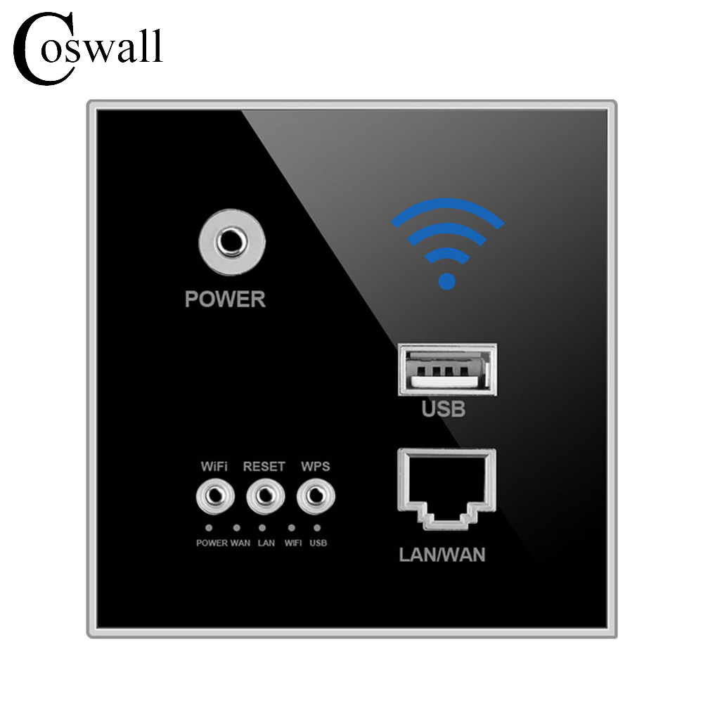 Coswall 300M Wall Embedded Wireless AP Router Wall WIFI Black Enrutador Panel Socket hot sale 300m rate 110 250v white black usb socket wireless wifi usb charging socket wall embedded wireless ap router