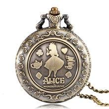 Купить с кэшбэком Vintage Cute Alice in Wonderland Rabbit Flower Pocket Watch Necklace Quartz Women Ladies Bronze Pendant Retro Chain Gift