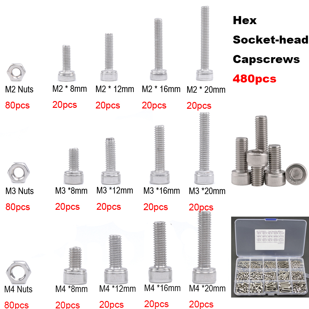 480Pcs M2 M3 M4 Stainless Steel Allen Bolt Socket Cap Screw Hex Head DIN 912 m2 hex socket pan head button head allen bolt screw 10 9 grade alloy steel