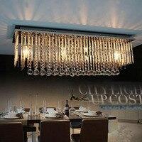 Прямоугольная гостиная столовая Люстры Европейский Стиль LED Хрустальные люстры современный минималистский ресторан огни