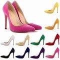 Сексуальные Женщины Flock Кожаные Ботинки Дамы Свадебные Вечерние Высокие Каблуки Острым Носом Насосы Работают Суда Партия Обуви