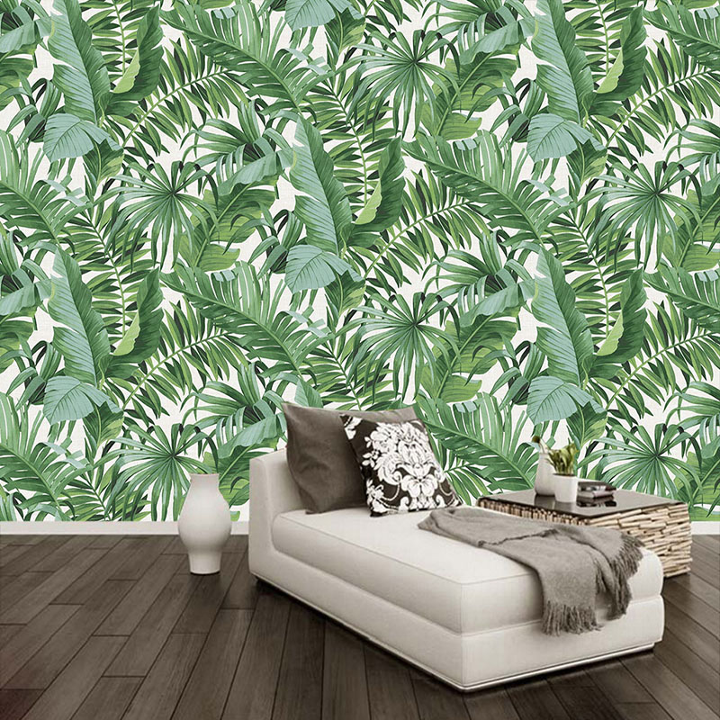 Papel De Parede 3D Rain Forest Green Leaf Photo Wallpaper Restaurant Cafe Bedroom Home Decor Wall Painting Waterproof Murals 3 D
