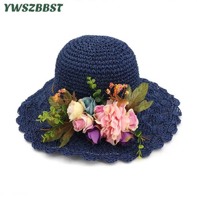 Musim Semi Musim Panas Wanita Matahari Topi Fashion Wanita Pinggiran Lebar  Besar Lipat Topi Jerami Bunga fd25e7a1fd