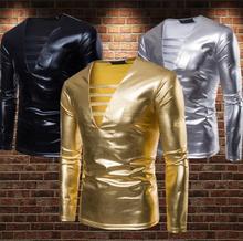 fashion slim shirt men Punk Rock Metal color Glossy Deep V collar teenage Long sleeve bronzing shirts mens gold