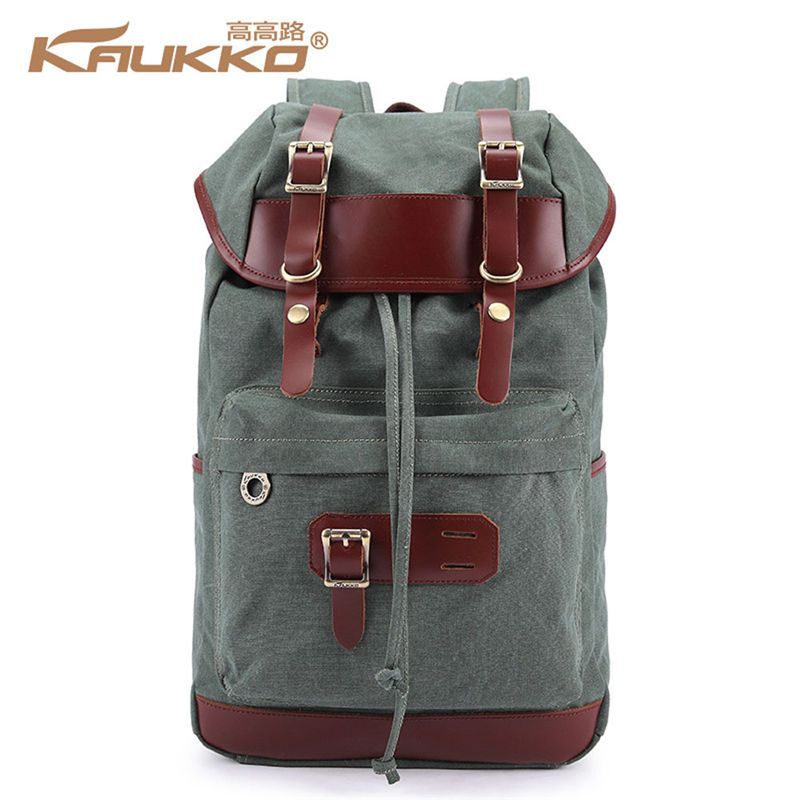 ФОТО KAUKKO Canvas Backpack for 14 to 15.6 inch Laptop Men Business Bag Women School Daypack Vintage Casual Blue Green