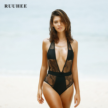 RUUHEE One Pieces Swimsuit Women Sexy Push Up Monokini Deep V Neck Swimwear 2017 Female Halter Bathing Suit Solid Beachwear
