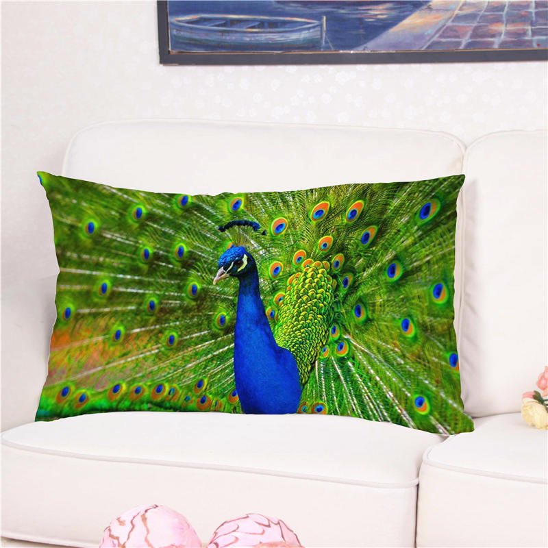 Fashion Peacock Opens The Screen Printed Pattern Cushion Cover 3D Pattern Pillowslip Pillow Cover Pillow for Chair 50*90cm
