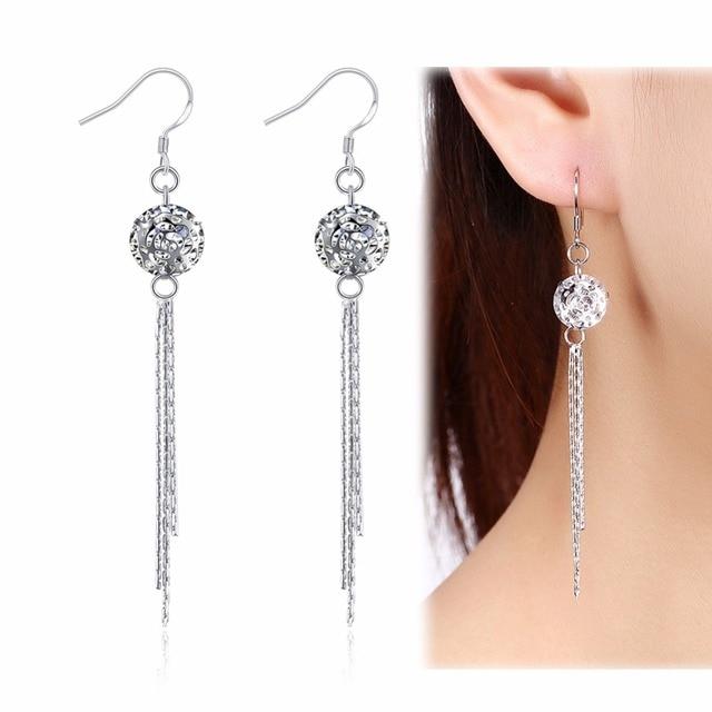 dab12153eca5 Mujeres hermosa borla pendiente largo 100% real plata cuelgan Pendientes  estilo bohemio bola Amuletos mujeres
