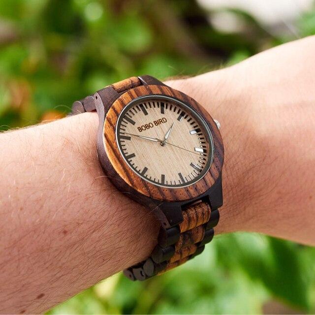 BOBO BIRD Mens Watches Top Brand Luxury Ebony Wooden Watch Quartz Wristwatch for