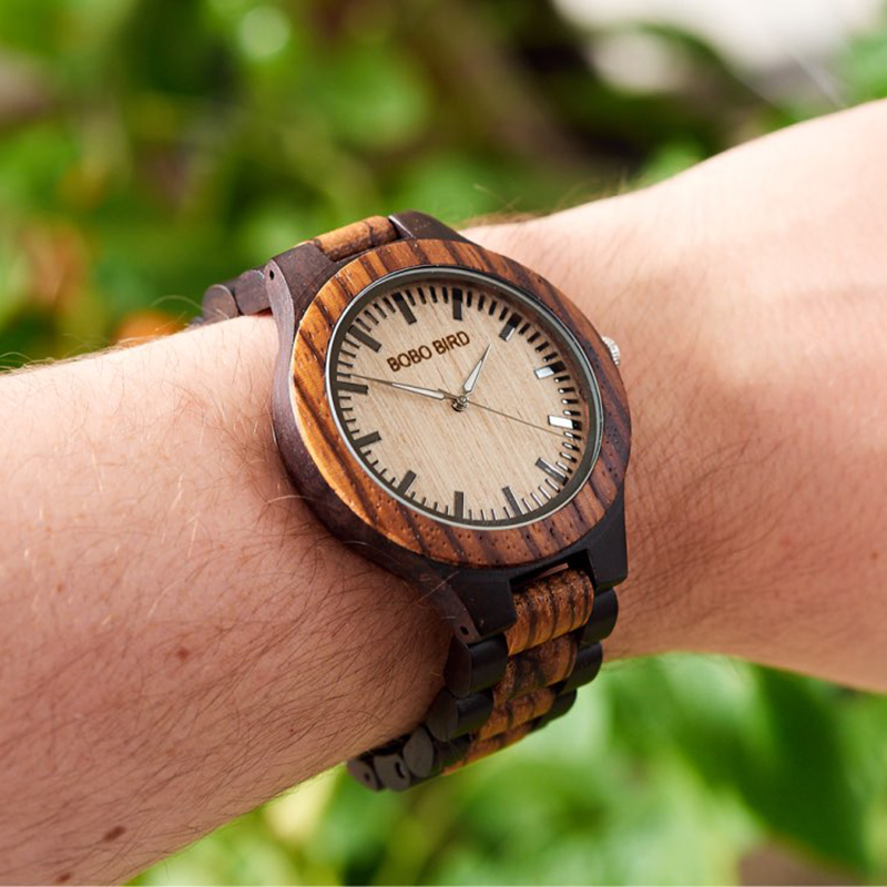 BOBO BIRD Mens Watches Top Brand Luxury Ebony Wooden Watch with Japan Movement in Gift Box relojes mujer 2017 bobo bird wh05 brand design classic ebony wooden mens watch full wood strap quartz watches lightweight gift for men in wood box