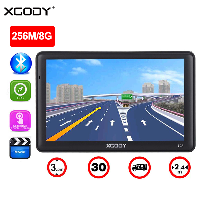 XGODY 7 Inch GPS Navigation 256MB 8GB Car Truck Sat Nav Navigator Bluetooth Sunshade 2018 Europe Free Maps 2017 Russia Navitel