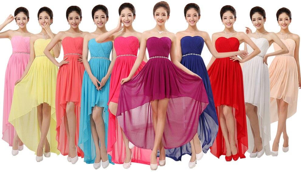 Cheap Chiffon Bridesmaid Dress Under 50 High Low Crystal Waist Short ...
