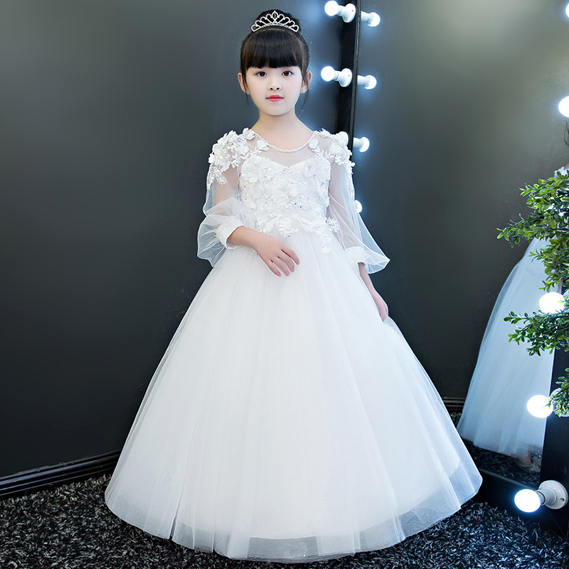 Children Girls Luxury Fashion Flowers Princess Party Lace Long Dress Kids White Birthday Wedding Model Show Ball Gown Mesh Dress 2018 new children girls elegant pure white color birthday wedding party princess lace flowers dress baby kids model show dress