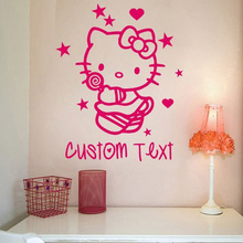 New Custom made Cartoon children's room decorative wall stickers bedroom wall art hello kitty cat stickers Pierced 4 Sizes