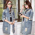 2016 Women  Autumn Spring Outerwear Coat Casual Loose Denim Street Jacket Hole Jean Vintage Coats