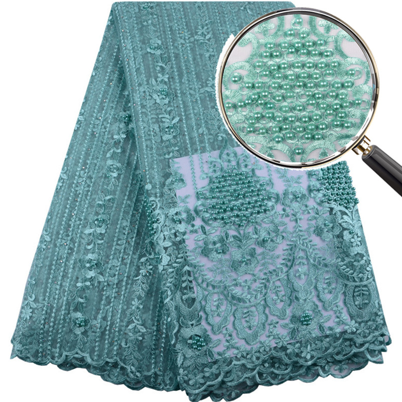 2019 Hot Sale Green Embroidered African Lace Fabric High Quality With Plenty Beaded French Net Guipure Lace Fabrics F1399