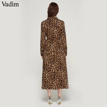Vadim women leopard print ankle length dress bow tie sashes long sleeve retro ladies casual chic dresses vestidos QA472