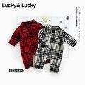 Roupas de bebê menino macacão de bebê de algodão xadrez de manga longa primavera traje do bebê