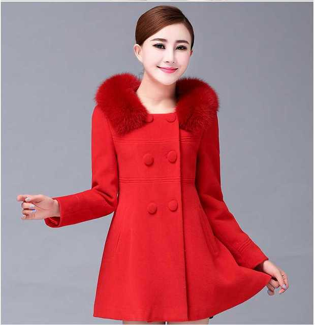5f3dde86ebd5b 2015 New Fashion Women s Slim Wool Blended Double-Breasted Fur Collar Coat  Women Jackets Winter White Blue Plus Size H5058