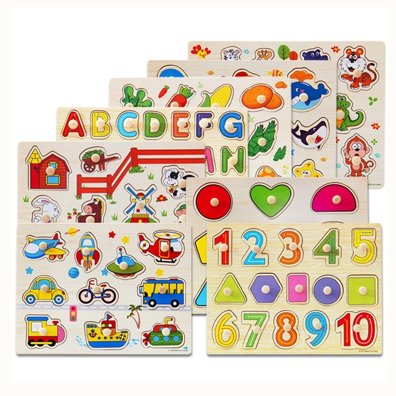 Baby Wooden Puzzle Toys Digital Letter Fruit Animal Hand Grasp Jigsaw Puzzle Toys For Toddler Kids Early Educational Toy 2 Years